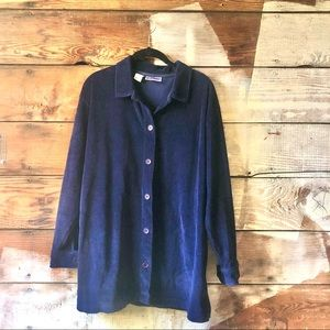 70's North Crest Navy Corduroy Button Up Top Large